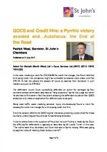 QOCS and Credit Hire: a Pyrrhic victory avoided and Autofocus: the End of the Road
