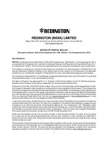 REDINGTON (INDIA) LIMITED Regd. Office: SPL Guindy House, 95, Mount Road, Guindy, Chennai