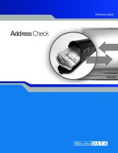Reference Guide. Address Check