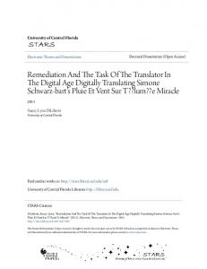 Remediation And The Task Of The Translator In The Digital Age Digitally Translating Simone Schwarz-bart's Pluie Et Vent Sur T??lum??