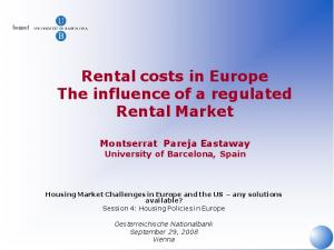 Rental costs in Europe The influence of a regulated Rental Market