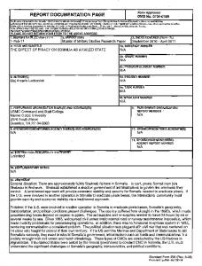 REPORT DOCUMENTATION PAGE