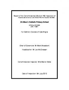 Report of the Denominational (Section 48) Inspection of Inspection was carried out under Section 48 of the Education Act 2005