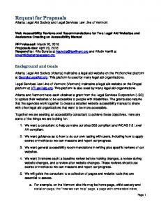 Request for Proposals Atlanta Legal Aid Society and Legal Services Law Line of Vermont