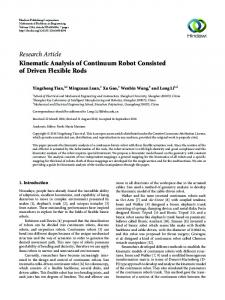 Research Article Kinematic Analysis of Continuum Robot Consisted of Driven Flexible Rods