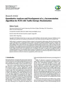 Research Article Quantitative Analyses and Development of a q-incrementation Algorithm for FCM with Tsallis Entropy Maximization