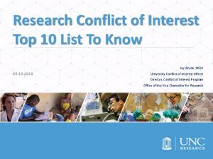 Research Conflict of Interest Top 10 List To Know