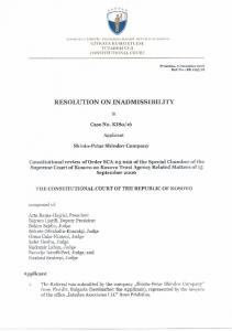RESOLUTION ON INADMISSIBILITY