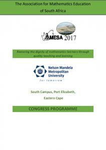 Restoring the dignity of mathematics learners through quality teaching and learning South Campus, Port Elizabeth, Eastern Cape CONGRESS PROGRAMME