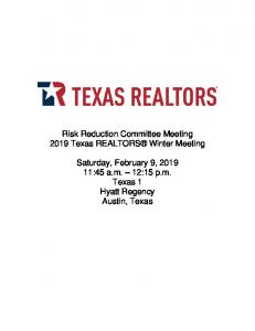Risk Reduction Committee Meeting 2019 Texas REALTORS Winter Meeting