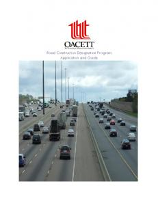 Road Construction Designation Program Application and Guide