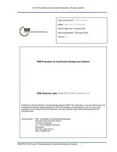 RSB Procedure for Certification Bodies and Auditors