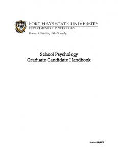 School Psychology Graduate Candidate Handbook