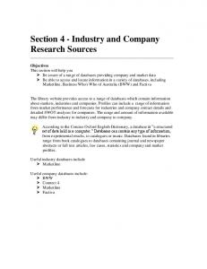 Section 4 - Industry and Company Research Sources