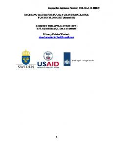 SECURING WATER FOR FOOD: A GRAND CHALLENGE FOR DEVELOPMENT (Round III) REQUEST FOR APPLICATION (RFA) RFA NUMBER: SOL-OAA