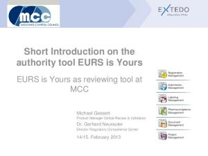 Short Introduction on the authority tool EURS is Yours