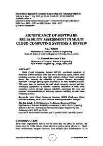 SIGNIFICANCE OF SOFTWARE RELIABILITY ASSESSMENT IN MULTI CLOUD COMPUTING SYSTEMS A REVIEW