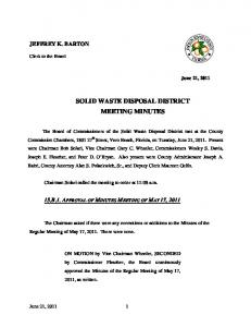 SOLID WASTE DISPOSAL DISTRICT MEETING MINUTES