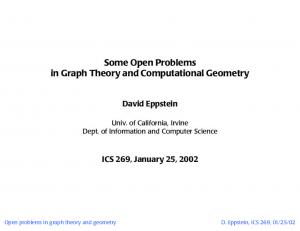 Some Open Problems in Graph Theory and Computational Geometry