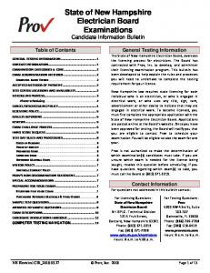 State of New Hampshire Electrician Board Examinations Candidate Information Bulletin