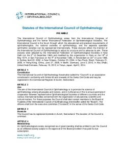 Statutes of the International Council of Ophthalmology