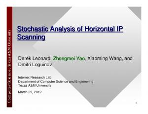 Stochastic Analysis of Horizontal IP Scanning