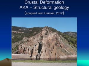 Study the architecture and processes responsible for deformation of Earth s crust. Folding and Faulting