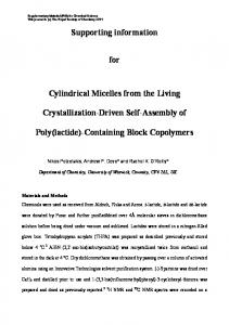 Supporting information. for. Cylindrical Micelles from the Living. Crystallization-Driven Self-Assembly of. Poly(lactide)-Containing Block Copolymers