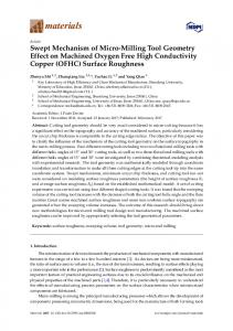 Swept Mechanism of Micro-Milling Tool Geometry Effect on Machined Oxygen Free High Conductivity Copper (OFHC) Surface Roughness