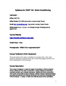 Syllabus for HESF 104 Swim Conditioning