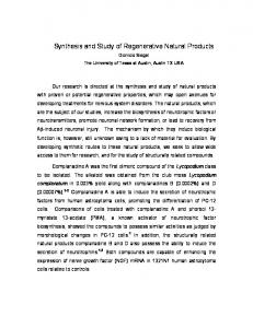 Synthesis and Study of Regenerative Natural Products