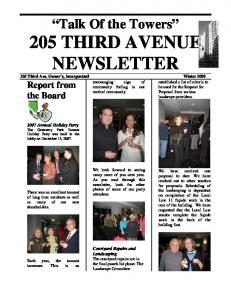 Talk Of the Towers 205 THIRD AVENUE NEWSLETTER