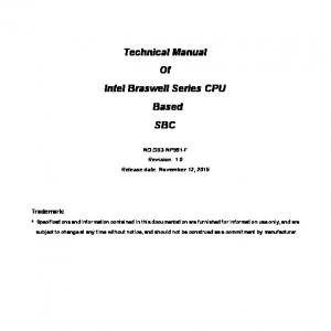 Technical Manual Of Intel Braswell Series CPU Based SBC