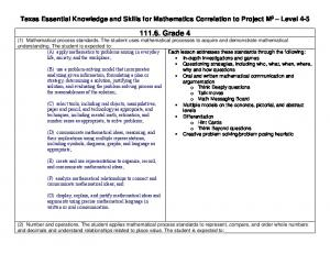 Texas Essential Knowledge and Skills for Mathematics Correlation to Project M 3 Level 4-5