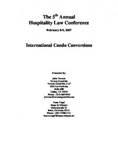 The 5 th Annual Hospitality Law Conference