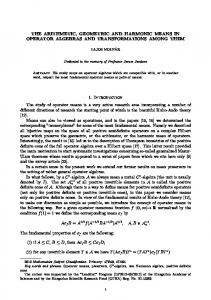 THE ARITHMETIC, GEOMETRIC AND HARMONIC MEANS IN OPERATOR ALGEBRAS AND TRANSFORMATIONS AMONG THEM