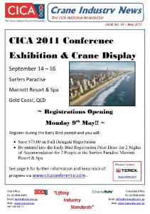 The CICA National Newsletter. CICA 2011 Conference Exhibition & Crane Display
