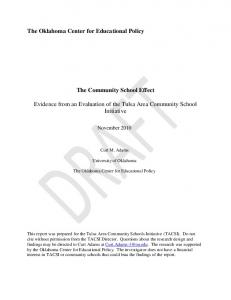 The Community School Effect. Evidence from an Evaluation of the Tulsa Area Community School Initiative