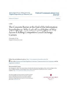 The Concrete Barrier at the End of the Information Superhighway: Why Lack of Local Rights-of-Way Access Is Killing Competitive Local Exchange Carriers