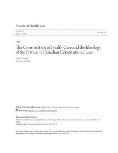 The Construction of Health Care and the Ideology of the Private in Canadian Constitutional Law