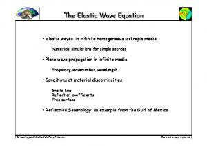 The Elastic Wave Equation. The elastic wave equation