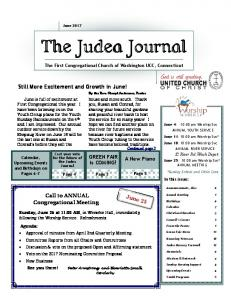 The Judea Journal. The First Congregational Church of Washington UCC, Connecticut. By the Rev. Cheryl Anderson, Pastor