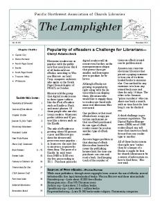 The Lamplighter. Popularity of ereaders a Challenge for Librarians Cheryl Adamscheck