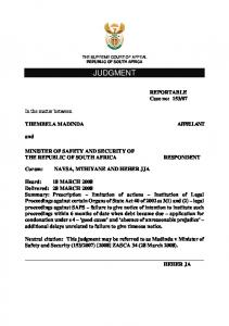 THE SUPREME COURT OF APPEAL THE REPUBLIC OF SOUTH AFRICA JUDGMENT