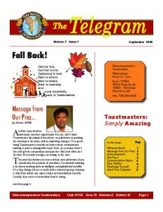TheTelegram. This year has thrown me into a whole new adventure! Just a. Fall Back! Another year, another. Message from Our Prez