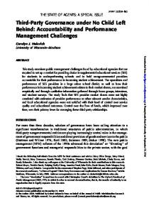 Third-Party Governance under No Child Left Behind: Accountability and Performance Management Challenges