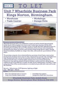 TO LET. Unit 7 Wharfside Business Park Kings Norton, Birmingham