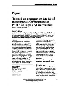 Toward an Engagement Model of Institutional Advancement at Public Colleges and Universities Received (in revised form): June 14, 2007
