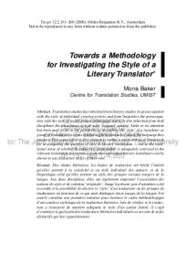 Towards a Methodology for Investigating the Style of a Literary Translator*