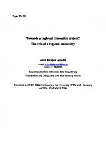 Towards a regional innovation system? The role of a regional university